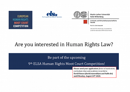 Bewerbungsaufruf Elsa Human Rights Moot Court Competition